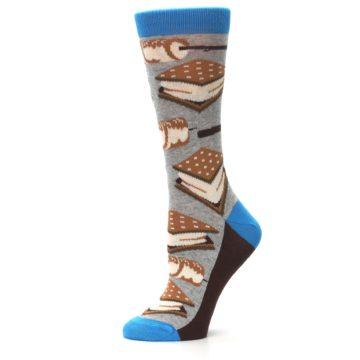 Image of Gray Marshmallow Smores Women's Dress Socks (side-2-11)