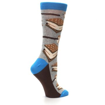 Image of Gray Marshmallow Smores Women's Dress Socks (side-1-24)