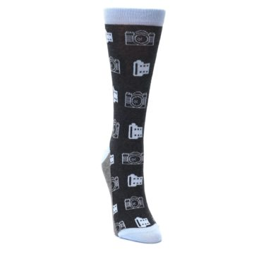 Image of Blue Charcoal Photography Camera Film Women's Dress Socks (side-1-front-03)