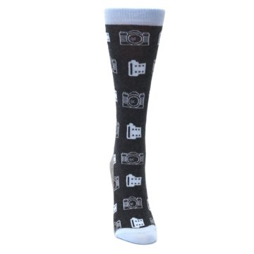Image of Blue Charcoal Photography Camera Film Women's Dress Socks (front-04)