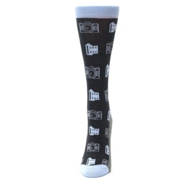 Image of Blue Charcoal Photography Camera Film Women's Dress Socks (side-2-front-06)