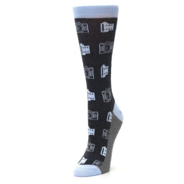 Image of Blue Charcoal Photography Camera Film Women's Dress Socks (side-2-front-08)