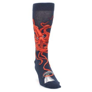 Image of Navy Red Giant Squid Men's Dress Socks (side-1-front-03)