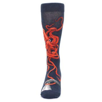 Image of Navy Red Giant Squid Men's Dress Socks (front-05)