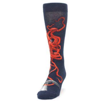 Image of Navy Red Giant Squid Men's Dress Socks (side-2-front-06)