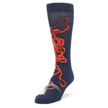 Image of Navy Red Giant Squid Men's Dress Socks (side-2-front-07)
