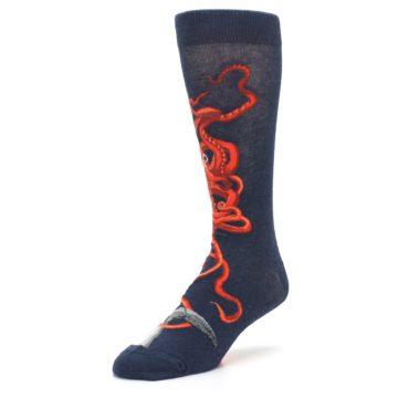 Image of Navy Red Giant Squid Men's Dress Socks (side-2-front-08)