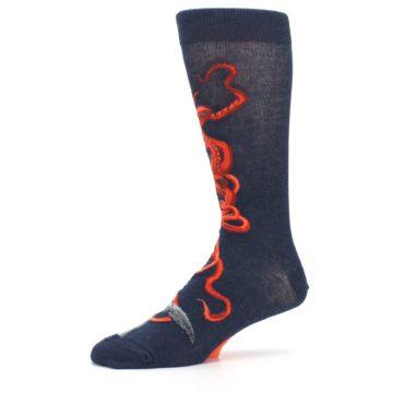Image of Navy Red Giant Squid Men's Dress Socks (side-2-10)