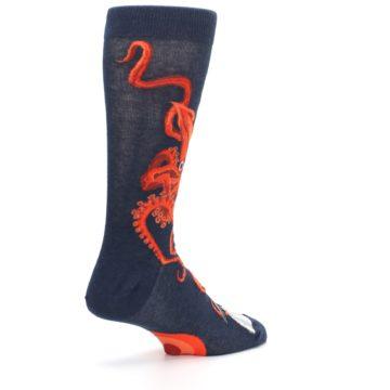 Image of Navy Red Giant Squid Men's Dress Socks (side-1-back-22)