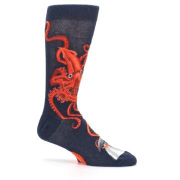 Image of Navy Red Giant Squid Men's Dress Socks (side-1-25)