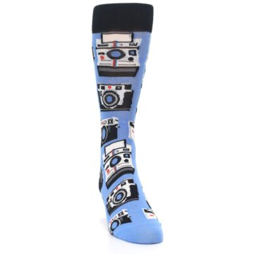 Image of Blue Picture Perfect Retro Camera Men's Dress Socks (side-1-front-03)