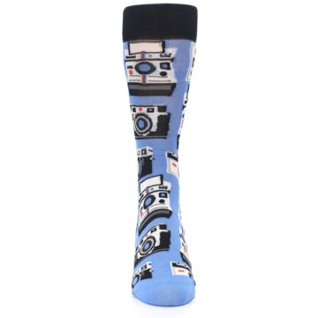 Image of Blue Picture Perfect Retro Camera Men's Dress Socks (front-04)