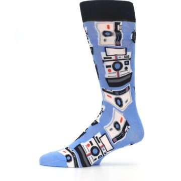 Image of Blue Picture Perfect Retro Camera Men's Dress Socks (side-2-11)