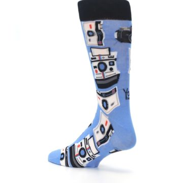 Image of Blue Picture Perfect Retro Camera Men's Dress Socks (side-2-back-14)