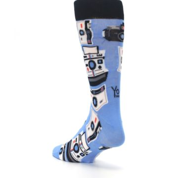 Image of Blue Picture Perfect Retro Camera Men's Dress Socks (side-2-back-15)
