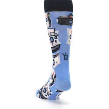 Image of Blue Picture Perfect Retro Camera Men's Dress Socks (side-2-back-16)