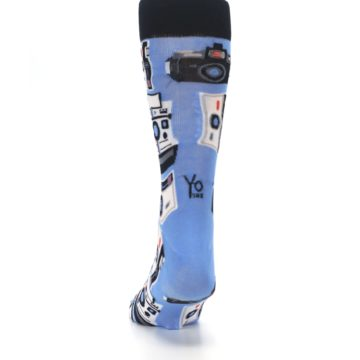 Image of Blue Picture Perfect Retro Camera Men's Dress Socks (back-17)