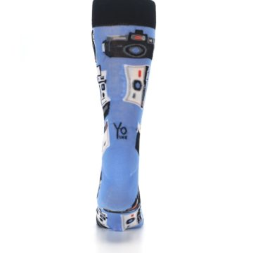 Image of Blue Picture Perfect Retro Camera Men's Dress Socks (back-18)