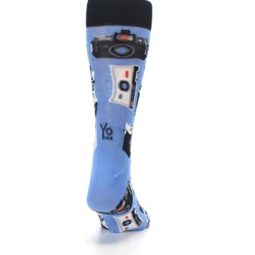Image of Blue Picture Perfect Retro Camera Men's Dress Socks (back-19)