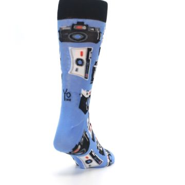 Image of Blue Picture Perfect Retro Camera Men's Dress Socks (side-1-back-20)