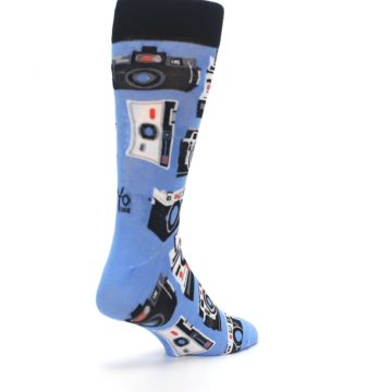 Image of Blue Picture Perfect Retro Camera Men's Dress Socks (side-1-back-21)