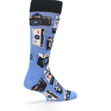 Image of Blue Picture Perfect Retro Camera Men's Dress Socks (side-1-back-22)
