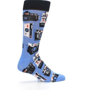 Image of Blue Picture Perfect Retro Camera Men's Dress Socks (side-1-23)