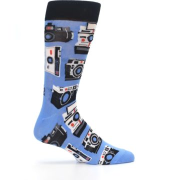 Image of Blue Picture Perfect Retro Camera Men's Dress Socks (side-1-24)
