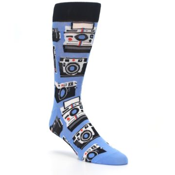 Image of Blue Picture Perfect Retro Camera Men's Dress Socks (side-1-27)