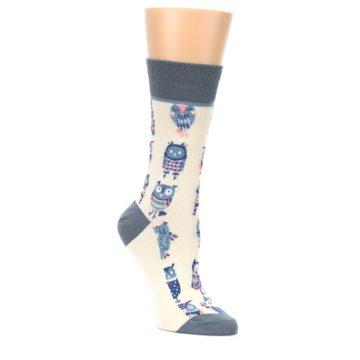 Cream-Blue-Pink-Owls-Womens-Dress-Socks-Yo-Sox