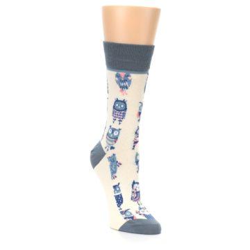 Image of Cream Blue Pink Owls Women's Dress Socks (side-1-front-02)