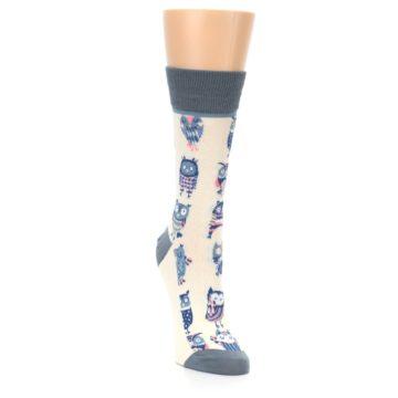 Image of Cream Blue Pink Owls Women's Dress Socks (side-1-front-03)