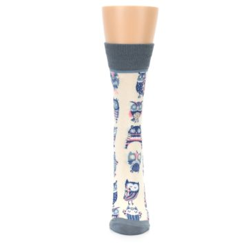 Image of Cream Blue Pink Owls Women's Dress Socks (front-05)