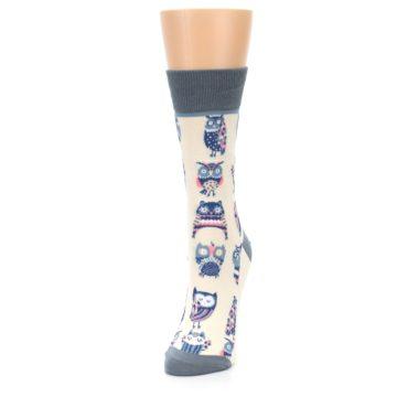 Image of Cream Blue Pink Owls Women's Dress Socks (side-2-front-07)