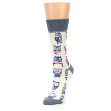 Image of Cream Blue Pink Owls Women's Dress Socks (side-2-front-08)