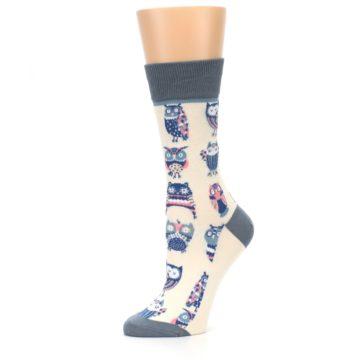 Image of Cream Blue Pink Owls Women's Dress Socks (side-2-10)