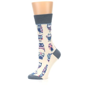 Image of Cream Blue Pink Owls Women's Dress Socks (side-2-11)