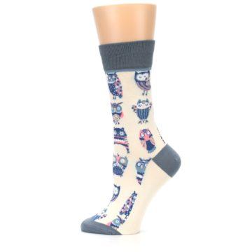 Image of Cream Blue Pink Owls Women's Dress Socks (side-2-12)