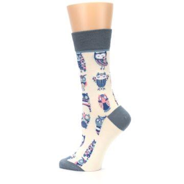 Image of Cream Blue Pink Owls Women's Dress Socks (side-2-13)