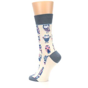 Image of Cream Blue Pink Owls Women's Dress Socks (side-2-back-14)
