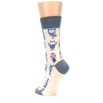 Image of Cream Blue Pink Owls Women's Dress Socks (side-2-back-15)