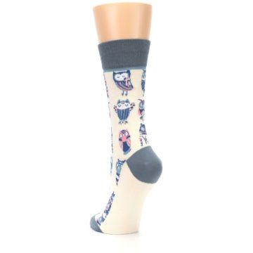 Image of Cream Blue Pink Owls Women's Dress Socks (side-2-back-16)