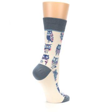 Image of Cream Blue Pink Owls Women's Dress Socks (side-1-23)