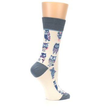 Image of Cream Blue Pink Owls Women's Dress Socks (side-1-24)