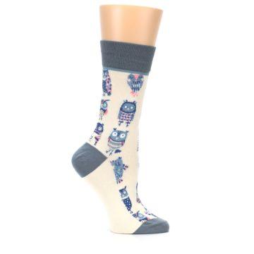 Image of Cream Blue Pink Owls Women's Dress Socks (side-1-25)