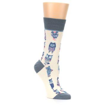 Image of Cream Blue Pink Owls Women's Dress Socks (side-1-27)