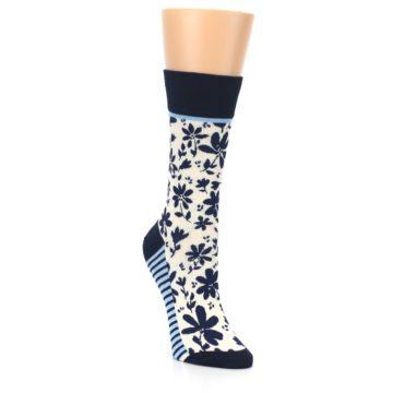 Image of Navy Cream Floral Women's Dress Socks (side-1-front-02)