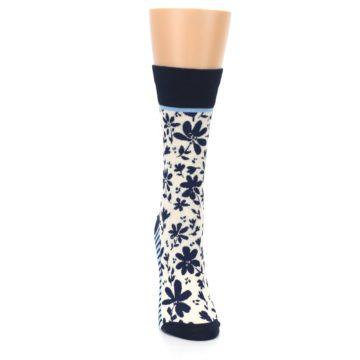 Image of Navy Cream Floral Women's Dress Socks (front-04)