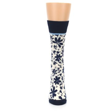Image of Navy Cream Floral Women's Dress Socks (front-05)