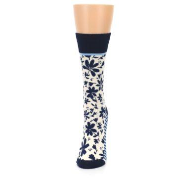 Image of Navy Cream Floral Women's Dress Socks (side-2-front-06)